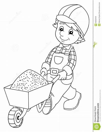 Construction Worker Coloring Children Workers Pages Plate