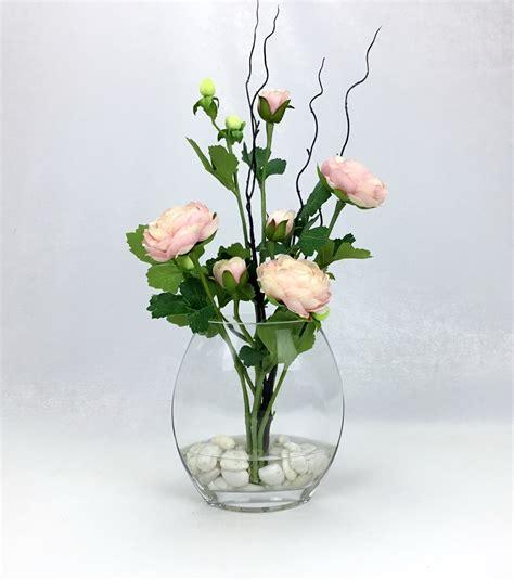 แจกันดอกไม้ประดิษฐ์ ดอกรานังคูลัสสีชมพูพาสเทลพร้อมแจกัน ...