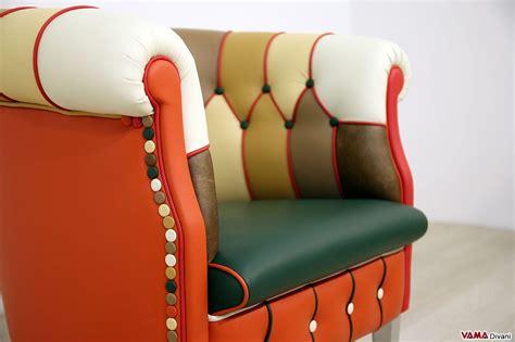 Poltrona Patchwork In Pelle E Tessuto, Colorata E Multicolor