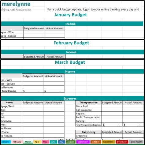 easiest   budget template  meredith rines
