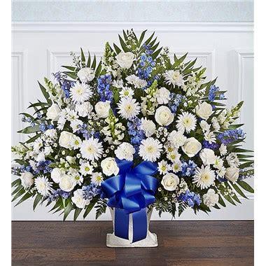flowers heartfelt tribute floor basket blue