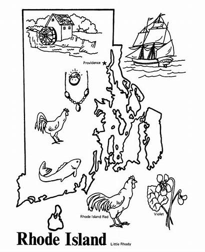 Rhode Island Map State Coloring Outline States