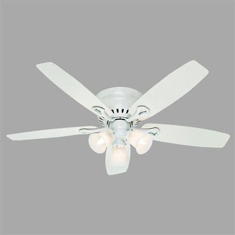 low profile white ceiling fan hunter oakhurst 52 in indoor low profile white ceiling
