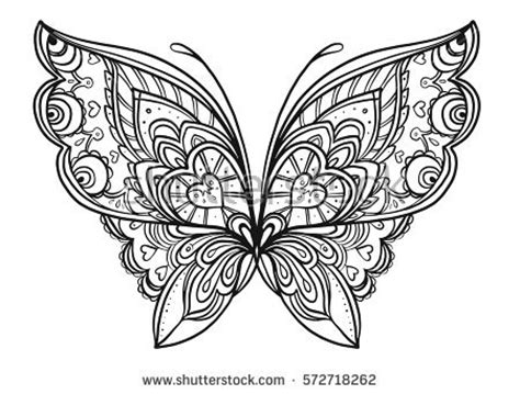 adult coloring book butterfly flowers pages stock vector