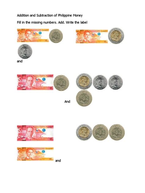 addition and subtraction of philippine money coins and pesos