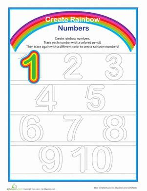 rainbow numbers practice writing numbers 1 10 for kids