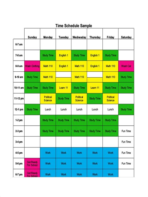 time management schedule examples samples