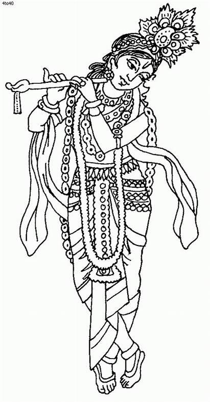 Coloring Pages Krishna Lord Janmashtami Festival Drawing