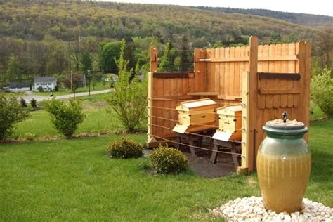 Backyard Honey Bee Hive by Hive Setup With Fence And Water Haha To Keep The