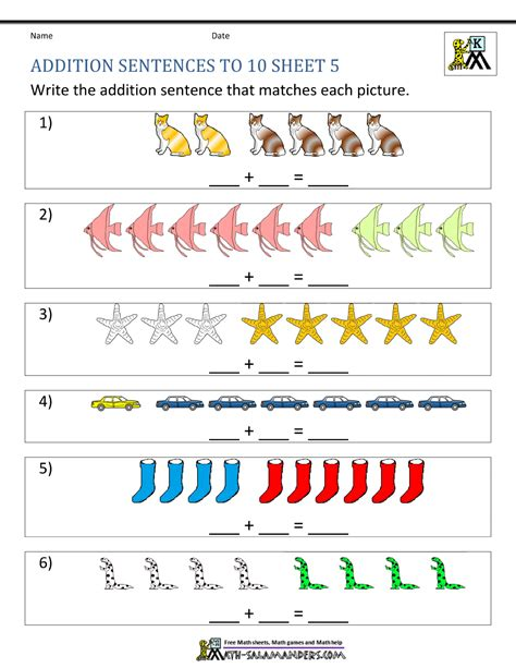 addition sentences worksheets for kindergarten addition worksheets for kindergarten