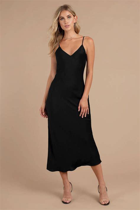 isabella black satin midi dress  tobi