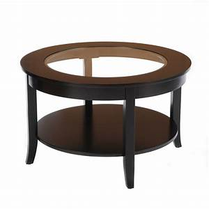 Bay shore collection 30quot glass top round coffee table black for 50 inch round coffee table