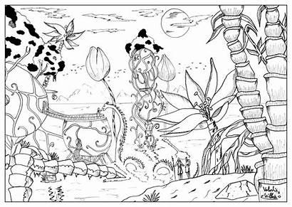 Coloring Pages Landscape Aquatic Adults Village Adult