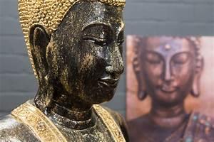 Buddha Figur Groß : buddha statue stehend gro 115cm holz schwarz blattgold ~ Michelbontemps.com Haus und Dekorationen