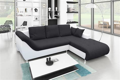 cdiscount canapé d angle cuir canapé d 39 angle convertible tudor noir blanc achat vente canapé sofa divan cdiscount