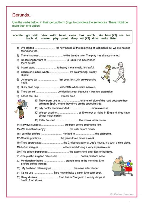 Verb + Gerund Review Worksheet  Free Esl Printable Worksheets Made By Teachers