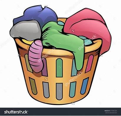 Laundry Dirty Clothes Clipart Basket Cartoon Hamper