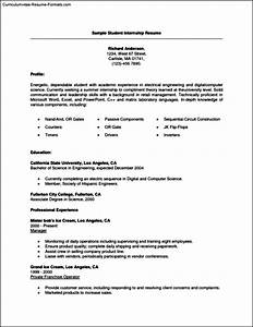 Resume Template For Internships For College Students