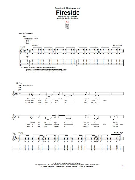 Floor Anthem Tab by Arctic Monkeys Fireside Guitar Tab Sheetmusicdirect