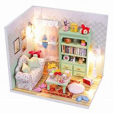 Hoomeda Diy Dream House Wood Dollhouse Miniature With Led