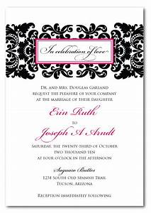Black damask wedding invitation template weddingpluspluscom for Damask wedding invitations template free