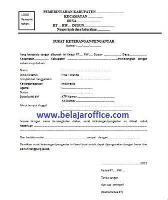Surat Keterangan Layak Kerja by Contoh Surat Keterangan Pengantar Rt