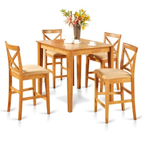 oak counter height table and 4 counter chairs 5