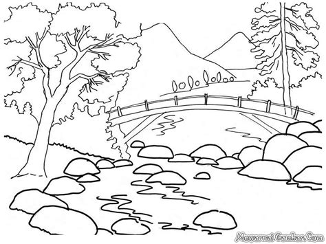 Coloring Pemandangan by Nature Pencil Coloring Pages