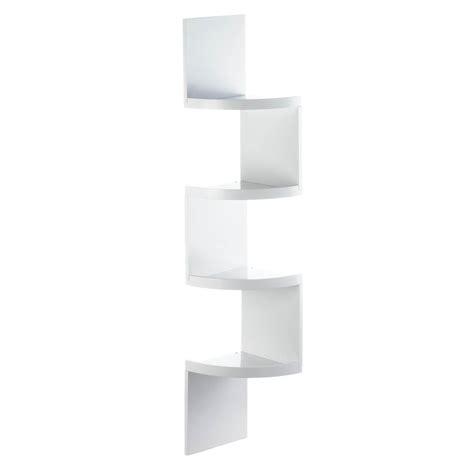White Corner Shelf Unit, Wooden Bathroom Corner Shelf 4
