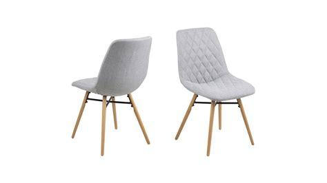 chaise tissu gris lot de 2 chaises scandinaves en tissu gris clair capitonné