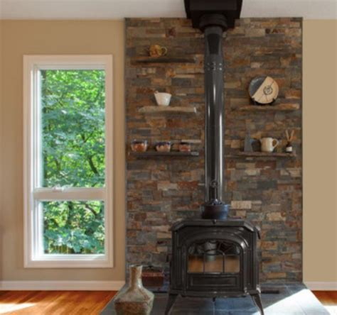image result  stacked stone wall  wood stove