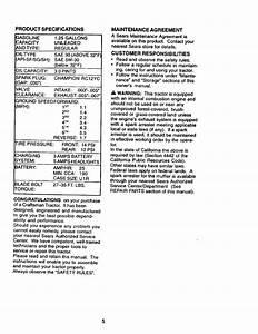Craftsman 917270654 User Manual 15 5hp 42 Lawn Tractor