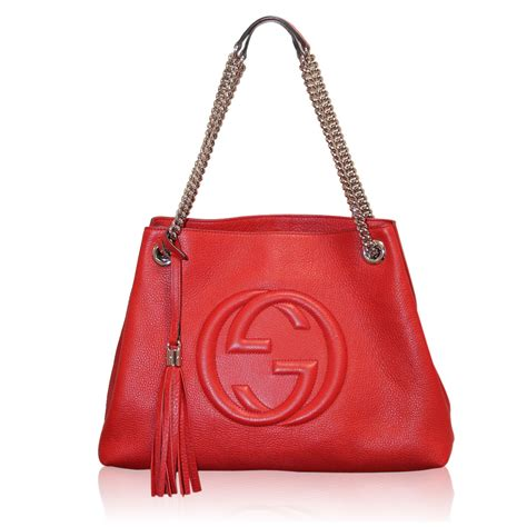 gucci red leather soho shw tote chain shoulder bag purse