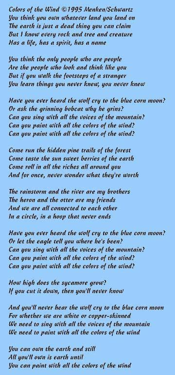the colors of the wind lyrics colors of the wind pocahontas going to sing for my talent
