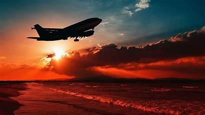 Airplane Sunset Sea Takeoff Silhouette Sky Widescreen