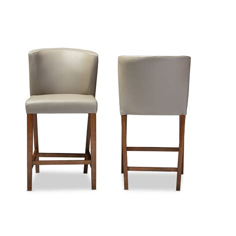 bevel gray leather counter stool modern furniture