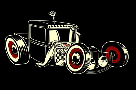 Rat Rod Hot Retro Vector Emgine Cartoon Wallpaper