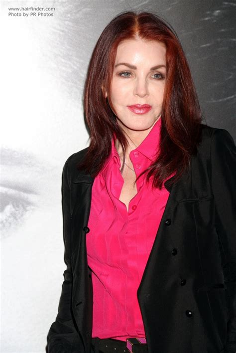 priscilla presley naturally wave dark red hair