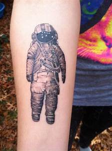 Right Forearm Grey Ink Astronaut Tattoo