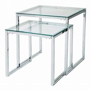 glass and metal nested coffee tables w 40cm and w 45cm With maison du monde verre