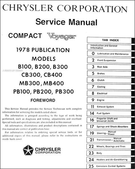 Dodge Van Repair Shop Manual Sportsman Tradesman