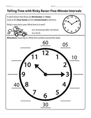 telling time   minutes draw  time worksheet