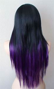 Black / Purple Ombre Long straight layered hairstyle wig.