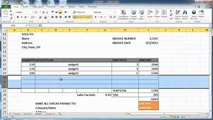 Create an invoice in excel 2010 youtube for How to create an invoice in excel 2010