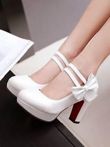 Weiße Schuhe Damen Hochzeit : wei e runde zehe schleife blockabsatz elegant hochhackige hochzeit pumps damen mode schuhe ~ Eleganceandgraceweddings.com Haus und Dekorationen
