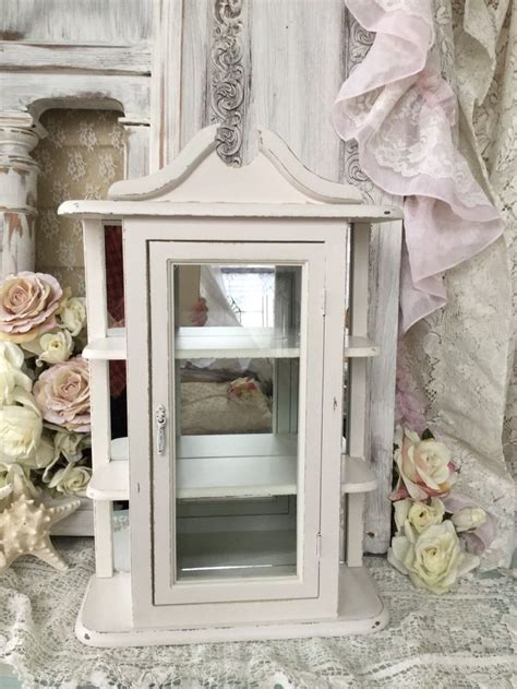 shabby chic curio cabinet shabby chic white hanging curio cabinet with glass door and mirrored back vintage white hanging
