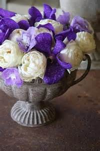 Purple and White Flower Arrangements