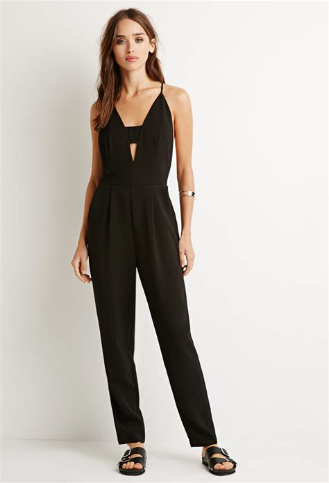 jumpsuit forever 21 forever 21 cutout y back jumpsuit in black lyst