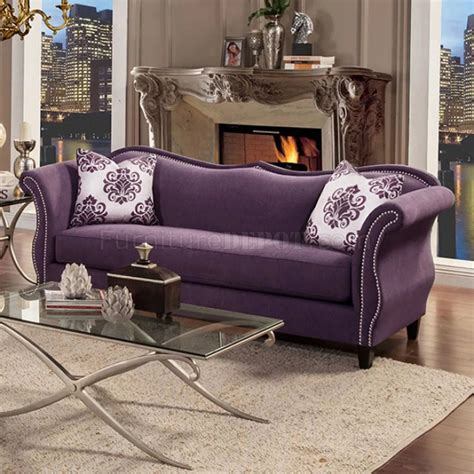 Settee Loveseat by Zaffiro Sofa Sm2233 In Lavender Fabric W Options