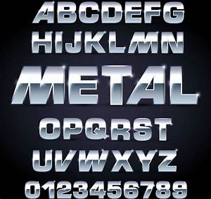 shiny metal letters and numbers vector set free vector in With metal letters and numbers for sale